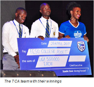 TCA team takes home prize from Stanbic National Schools Championship 2017